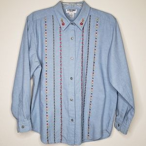 Alfred Dunner Chambray Embroidered Shirt